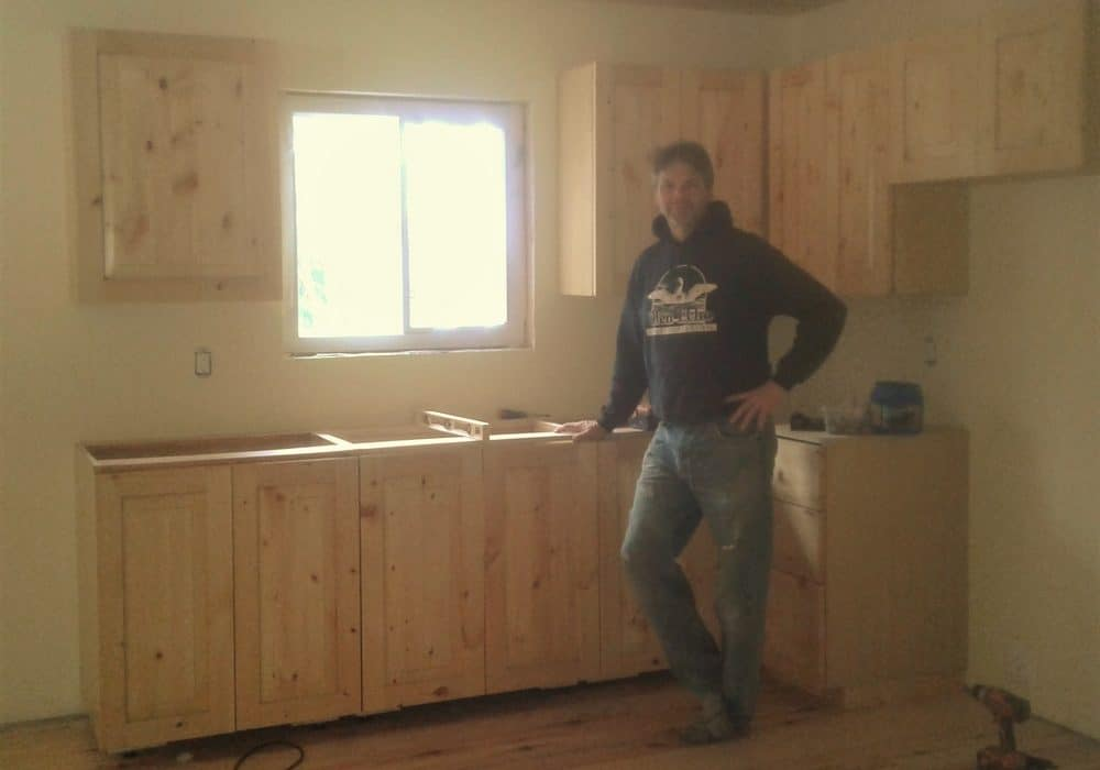 Scott built a new custom kitchen which he just installed into Hilltop Cottage